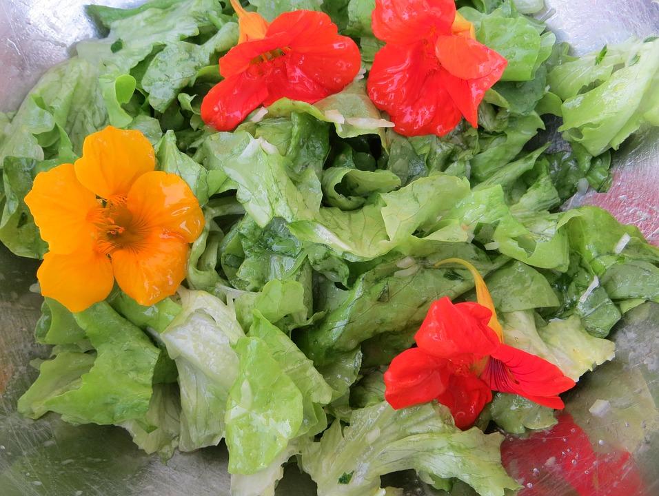 sałatka z dodatkiem kwiatów i liści nasturcji